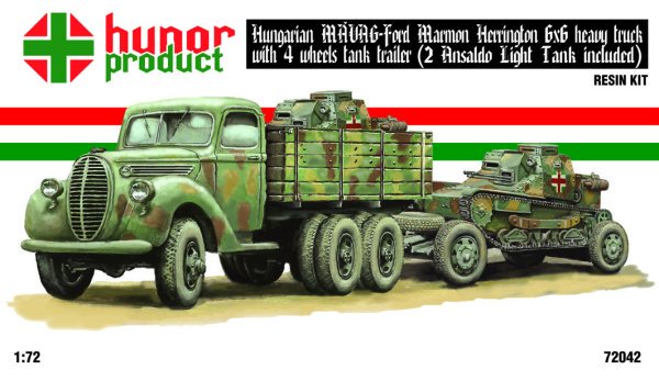 HP72042   41M FORD 6x6 TRUCK (MAVAG - MARMON HERRINGTON) + 4 wheels trailer + 2 ANSALDO (thumb21351)