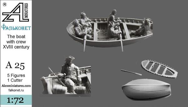 AMinА25 Лодка с экипажем . XVIII век, 1:72, Alex miniatures, шт (thumb22604)
