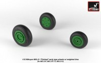 AR AW32009   1/32 Mikoyan MiG-21 Fishbed wheels w/ weighted tires, early (attach1 21507)