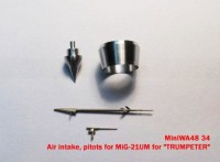 MiniWA4834   Air intake, pitots for MiG-21UM for «TRUMPETER» (attach2 23155)