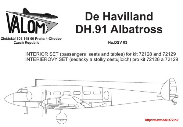 VMDSV03   Interior set for 72128 DH.91 Albatross (thumb25604)