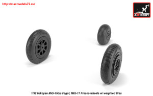 AR AW32014   1/32 Mikoyan MiG-15bis Fagot (late) / MiG-17 Fresco wheels w/ weighted tires (attach3 25536)