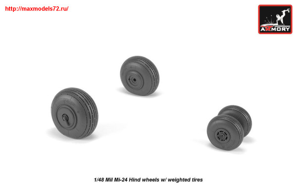 AR AW48031   1/48 Mil Mi-24 Hind wheels w/ weighted tires (thumb25541)