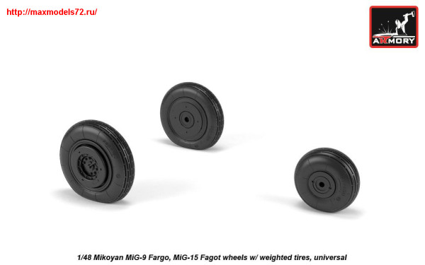 AR AW48032   1/48 Mikoyan MiG-9 Fargo / MiG-15 Fagot (early) wheels w/ weighted tires (thumb25546)