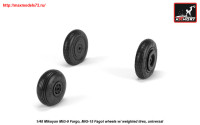 AR AW48032   1/48 Mikoyan MiG-9 Fargo / MiG-15 Fagot (early) wheels w/ weighted tires (attach1 25546)
