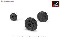 AR AW48032   1/48 Mikoyan MiG-9 Fargo / MiG-15 Fagot (early) wheels w/ weighted tires (attach2 25546)