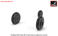 AR AW48032   1/48 Mikoyan MiG-9 Fargo / MiG-15 Fagot (early) wheels w/ weighted tires (attach3 25546)