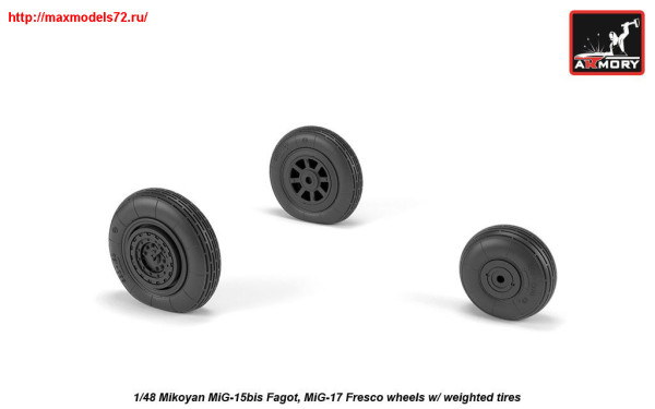 AR AW48033   1/48 Mikoyan MiG-15bis Fagot (late) / MiG-17 Fresco wheels w/ weighted tires (thumb25551)