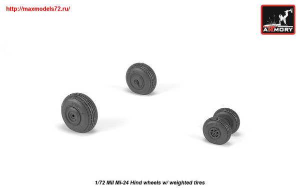 AR AW72052   1/72 Mil Mi-24 Hind wheels w/ weighted tires (thumb25561)