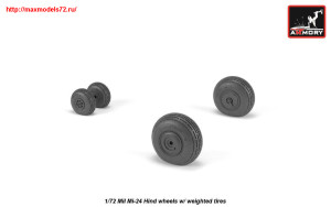 AR AW72052   1/72 Mil Mi-24 Hind wheels w/ weighted tires (attach2 25561)