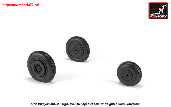 AR AW72053   1/72 Mikoyan MiG-9 Fargo / MiG-15 Fagot (early) wheels w/ weighted tires (thumb25566)