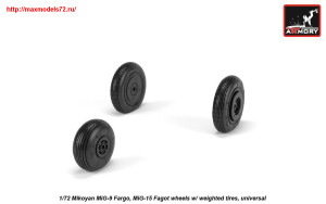 AR AW72053   1/72 Mikoyan MiG-9 Fargo / MiG-15 Fagot (early) wheels w/ weighted tires (attach1 25566)