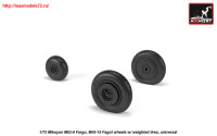 AR AW72053   1/72 Mikoyan MiG-9 Fargo / MiG-15 Fagot (early) wheels w/ weighted tires (attach2 25566)