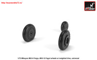 AR AW72053   1/72 Mikoyan MiG-9 Fargo / MiG-15 Fagot (early) wheels w/ weighted tires (attach3 25566)