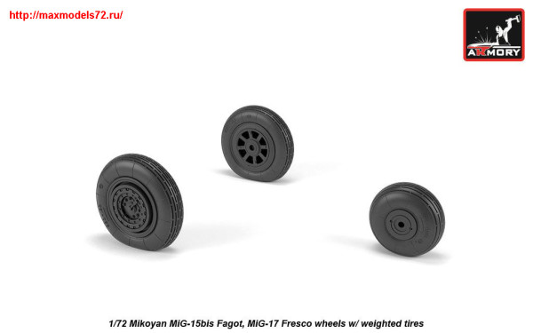 AR AW72054   1/72 Mikoyan MiG-15bis Fagot (late) / MiG-17 Fresco wheels w/ weighted tires (thumb25571)