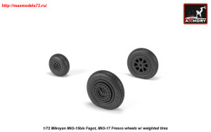 AR AW72054   1/72 Mikoyan MiG-15bis Fagot (late) / MiG-17 Fresco wheels w/ weighted tires (attach2 25571)