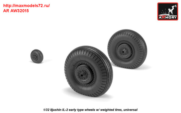 AR AW32015   1/32 Iljushin IL-2 Bark (early) wheels w/ weighted tires (thumb31253)