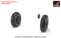 AR AW32015   1/32 Iljushin IL-2 Bark (early) wheels w/ weighted tires (attach1 31253)