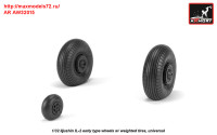 AR AW32015   1/32 Iljushin IL-2 Bark (early) wheels w/ weighted tires (attach3 31253)