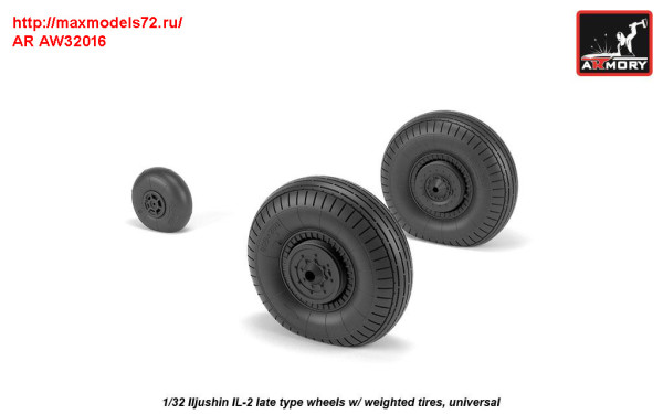 AR AW32016   1/32 Iljushin IL-2 Bark (late) wheels w/ weighted tires (thumb31258)