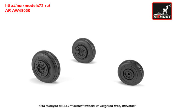 AR AW48030   1/48 Mikoyan MiG-19 Farmer wheels w/ weighted tires (thumb31268)