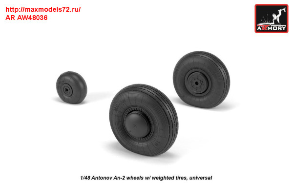 AR AW48036   1/48 Antonov An-2/An-3 Colt wheels w/ weighted tires (thumb31278)