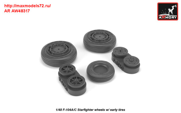 AR AW48317   1/48 F-104A/C Starfighter early wheels, w/ optional nose wheels, weighted (thumb31283)
