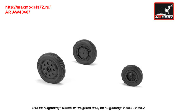 "AR AW48407   1/48 EE ""Lightning-II"" wheels w/ weighted tires, early (thumb31289)"