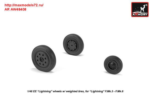 AR AW48408   1/48 EE «Lightning-II» wheels w/ weighted tires, late (thumb31294)