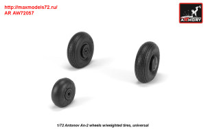 AR AW72057   1/72 Antonov An-2/An-3 Colt wheels w/ weighted tires (attach1 31304)