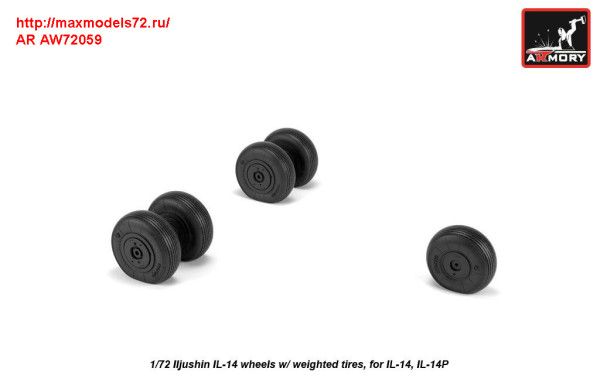 AR AW72059   1/72 Iljushin IL-14 wheels w/ weighted tires (thumb31309)