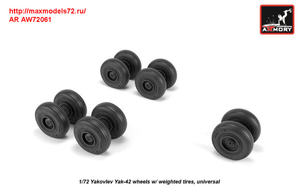 AR AW72061   1/72 Yakovlev Yak-42 wheels w/ weighted tires (thumb31314)
