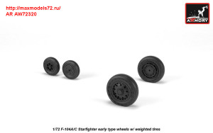 AR AW72320   1/72 F-104A/C Starfighter early wheels, w/ optional nose wheels, weighted (attach2 31319)