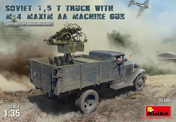 MA35186   Soviet 1,5 t Truck w/ M-4 Maxim AA Machine Gun (thumb32589)