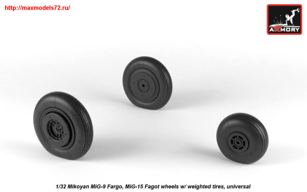 AR AW32013   1/32 Mikoyan MiG-9 Fargo / MiG-15 Fagot (early) wheels w/ weighted tires (thumb25531)
