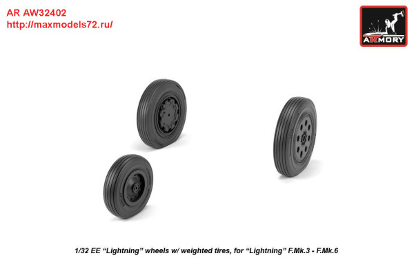 AR AW32402   1/32 EE Lightning-II wheels w/ weighted tires, late (thumb27761)