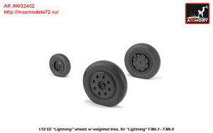 AR AW32402   1/32 EE Lightning-II wheels w/ weighted tires, late (attach1 27761)