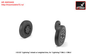 AR AW32402   1/32 EE Lightning-II wheels w/ weighted tires, late (attach3 27761)