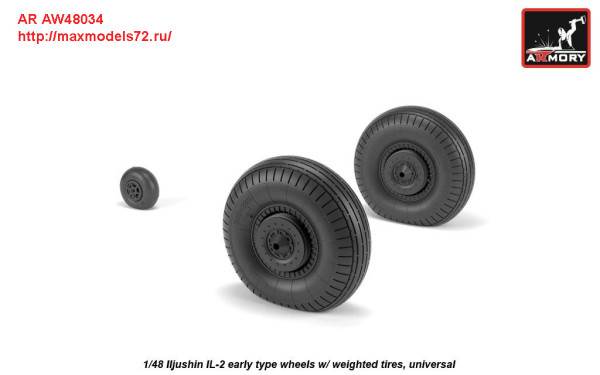 AR AW48034   1/48 Iljushin IL-2 Bark (early) wheels w/ weighted tires (thumb27766)