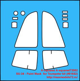 A-squared72002   SU-34 - Paint Mask  for Trumpeter kit (#01652) (thumb34671)