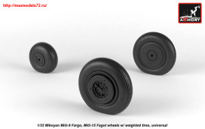 AR AW32013   1/32 Mikoyan MiG-9 Fargo / MiG-15 Fagot (early) wheels w/ weighted tires (attach2 25531)