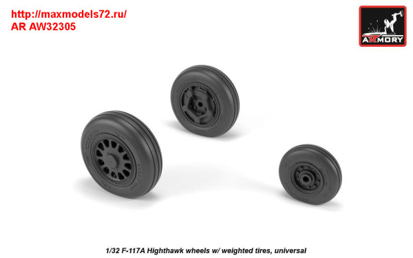 AR AW32305   1/32 F-117A wheels w/ weighted tires (thumb31361)