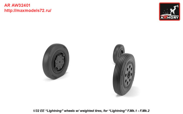 AR AW32401   1/32 EE Lightning-II wheels w/ weighted tires, early (thumb27756)