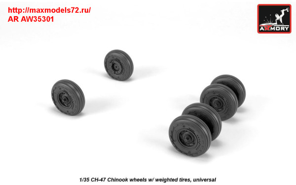 AR AW35301   1/35 CH-47 Chinook wheels w/ weighted tires (thumb31376)