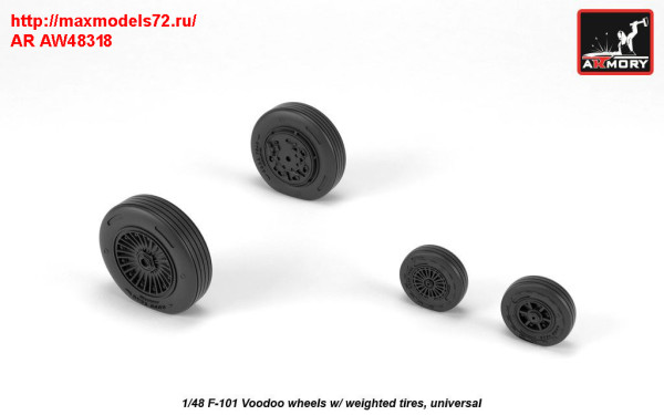 AR AW48318   1/48 F-101 Voodoo wheels w/ optional nose wheels & weighted tires (thumb31387)