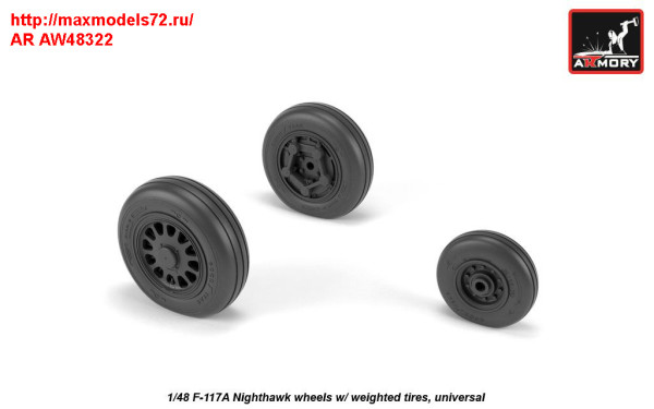 AR AW48322   1/48 F-117A wheels w/ weighted tires (thumb31392)