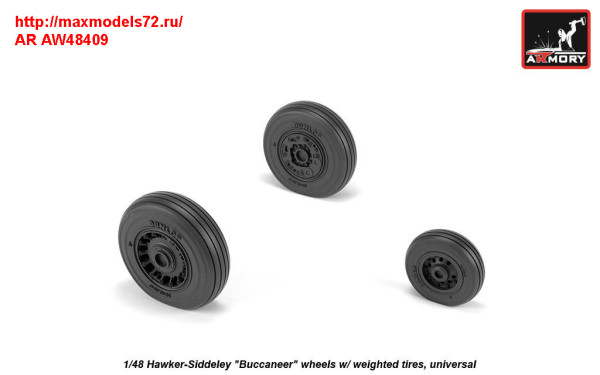 "AR AW48409   1/48 Hawker-Siddeley ""Buccaneer"" wheels w/ weighted tires (thumb31397)"