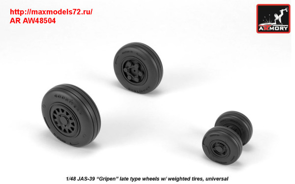 "AR AW48504   1/48 JAS-39 ""Gripen"" wheels w/ weighted tires, late (thumb31452)"