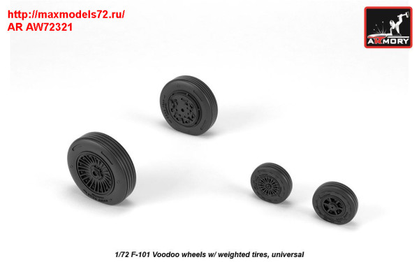 AR AW72321   1/72 F-101 Voodoo wheels w/ optional nose wheels & weighted tires (thumb31407)