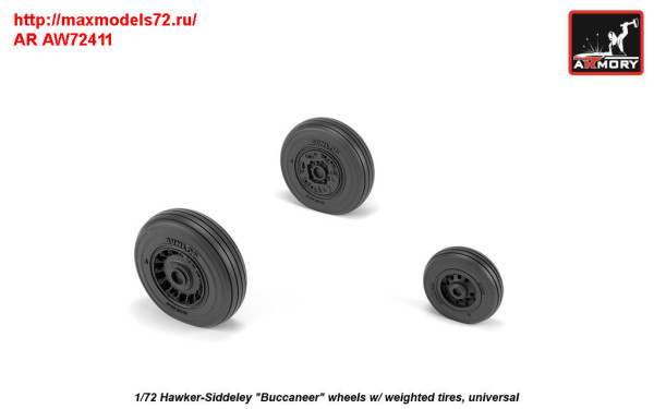 "AR AW72411   1/72 Hawker-Siddeley ""Buccaneer"" wheels w/ weighted tires (thumb31417)"